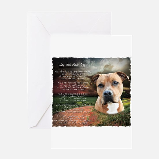 """Why God Made Dogs"" AmStaff Greeting Card"