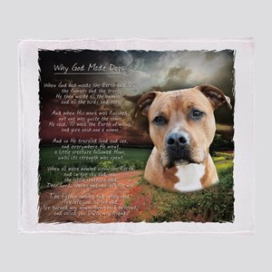 """Why God Made Dogs"" AmStaff Throw Blanket"