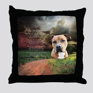 """Why God Made Dogs"" AmStaff Throw Pillow"