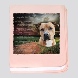 """Why God Made Dogs"" AmStaff baby blanket"