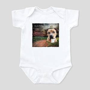 """Why God Made Dogs"" AmStaff Infant Bodysuit"