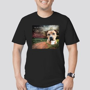 """""""Why God Made Dogs"""" AmStaff Men's Fitted T-Shirt ("""