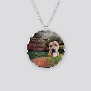 """Why God Made Dogs"" AmStaff Necklace Circle Charm"