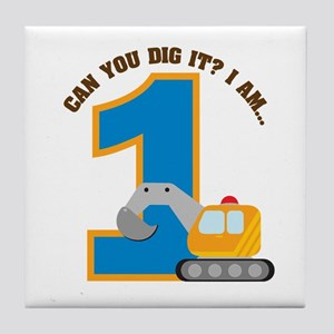 Construction Digger 1st Birth Tile Coaster