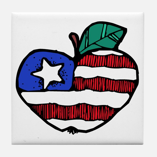 Patriotic Apple Tile Coaster