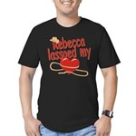 Rebecca Lassoed My Heart Men's Fitted T-Shirt (dar