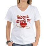 Rebecca Lassoed My Heart Women's V-Neck T-Shirt