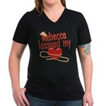 Rebecca Lassoed My Heart Women's V-Neck Dark T-Shi