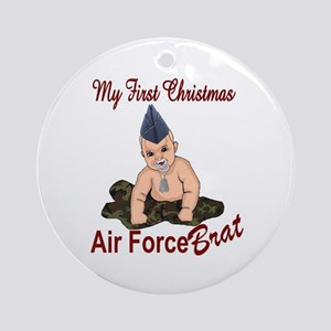 Air Force Brat First Christmas Ornament (Round)