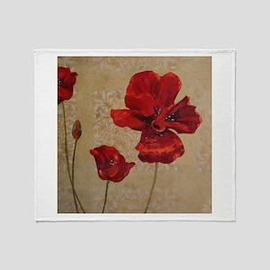 Red Poppy Art II Throw Blanket