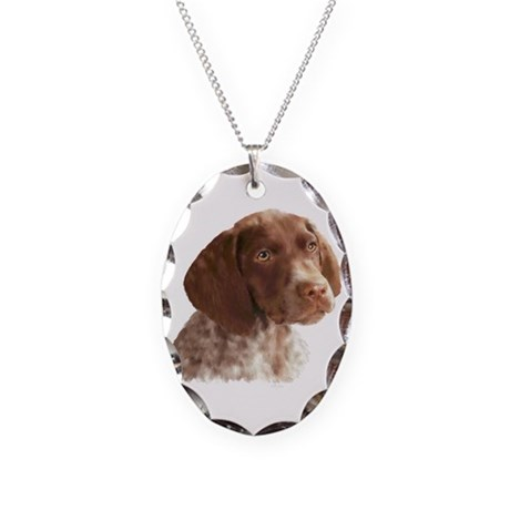 German Shorthair Puppy Necklace Oval Charm