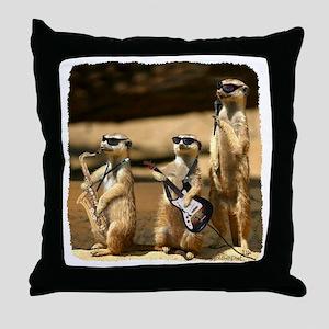 Meerkat Trio Throw Pillow