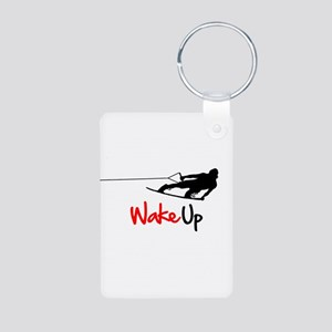 Wake Up Boarder Aluminum Photo Keychain