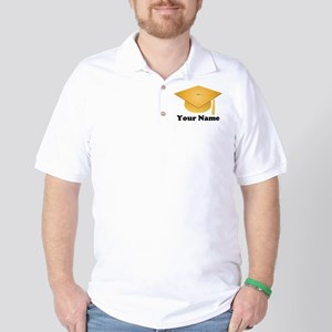 Personalized Gold Graduation Cap Golf Shirt