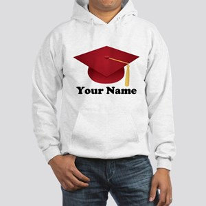 Personalized Red Graduation Cap Hooded Sweatshirt