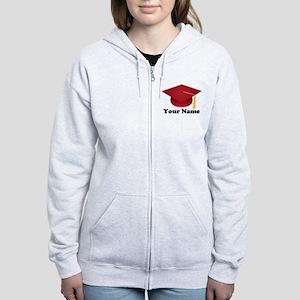 Personalized Red Graduation Cap Women's Zip Hoodie