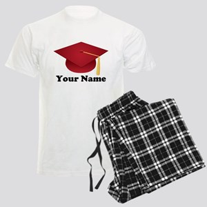 Personalized Red Graduation Cap Men's Light Pajama