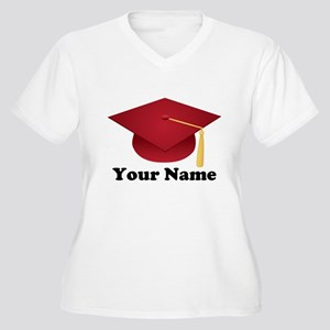 Personalized Red Graduation Cap Women's Plus Size