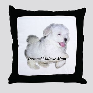 Devoted Maltese Mom Throw Pillow