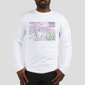 Samoyed Winter Scene Long Sleeve T-Shirt