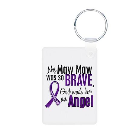 Angel 1 Pancreatic Cancer Aluminum Photo Keychain