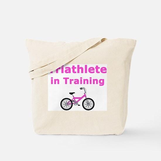 Triathlete in Training - Pink Bike Tote Bag