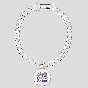 Angel 1 Pancreatic Cancer Charm Bracelet, One Char
