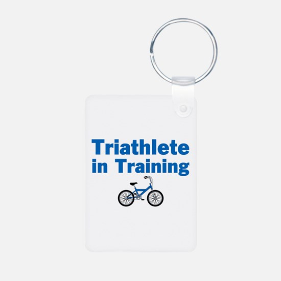 Triathlete in Training - Blue Bike Keychains