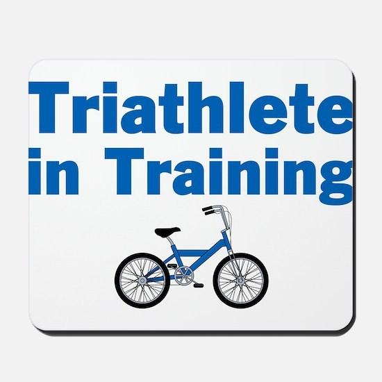 Triathlete in Training - Blue Bike Mousepad