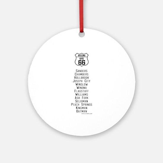 US Route 66 Arizona Cities Ornament (Round)