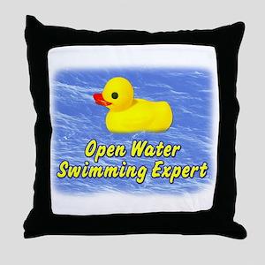 Open Water Swimming Expert Duck Throw Pillow