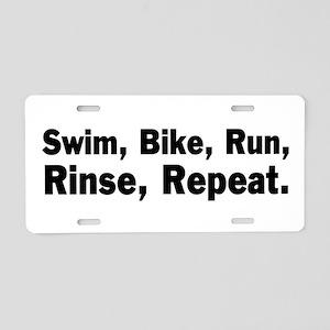 Swim, Bike, Run - Mantra Aluminum License Plate