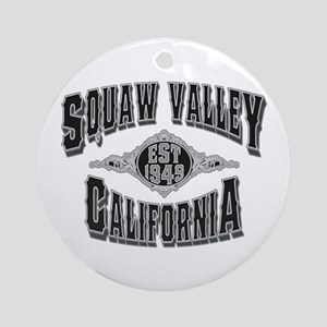 Squaw Valley Black & Silver Ornament (Round)