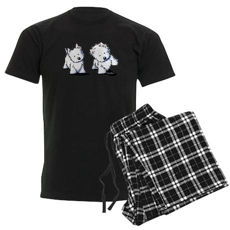 Shadowboxing Westies Men's Dark Pajamas