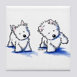 Shadowboxing Westies Tile Coaster