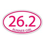 26.2 Runner Girl Marathon Sticker (Oval)