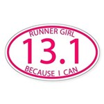 13.1 Runner Girl Because I Can Sticker (Oval)