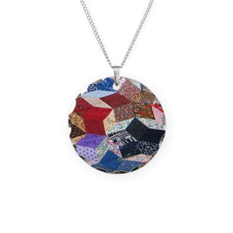 Tumbling Block Patchwork Quilt Necklace Circle Cha