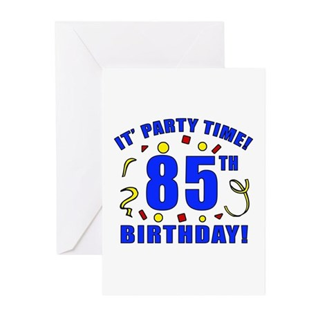 85th Birthday Party Time Greeting Cards (Pk of 20)