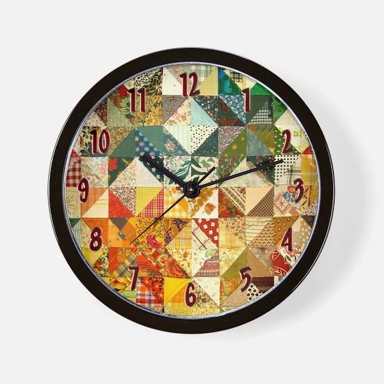 Fun Patchwork Quilt Wall Clock