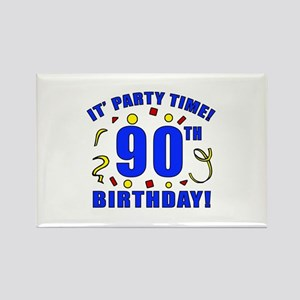 90th Birthday Party Time Rectangle Magnet