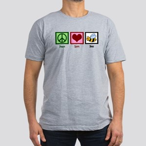 Peace Love Bees Men's Fitted T-Shirt (dark)