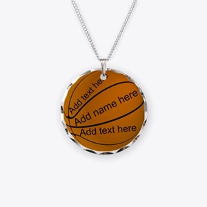 Basketball Necklace Circle Charm