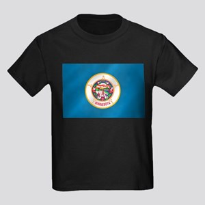 Minnesota Flag Kids Dark T-Shirt