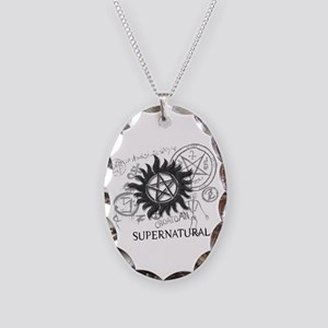 SUPERNATURAL Rusty Metal black Necklace Oval Charm
