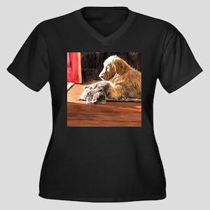 Best Buds Women's Plus Size V-Neck Dark T-Shirt