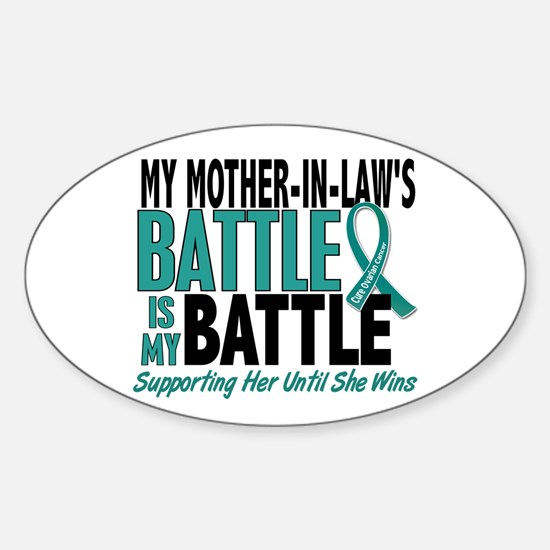 My Battle Too Ovarian Cancer Sticker (Oval)