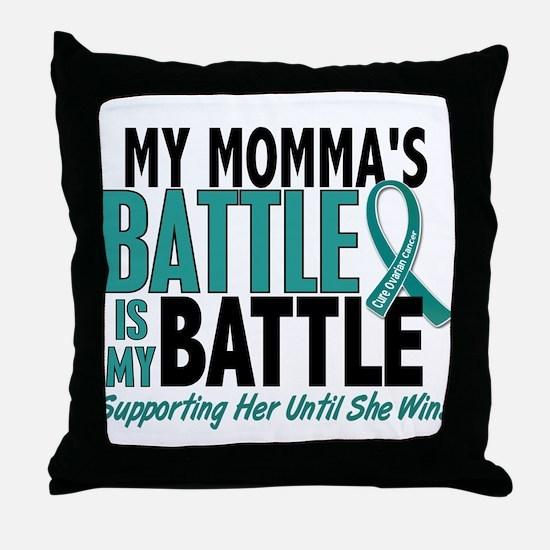 My Battle Too Ovarian Cancer Throw Pillow