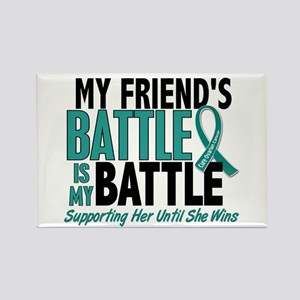 My Battle Too Ovarian Cancer Rectangle Magnet