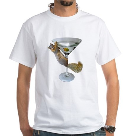 Martini Squirrel White T-Shirt